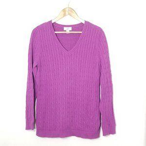 Loft   Purple Cable Knit V-Neck Sweater Top Large